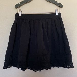 Aeropostale Black Skater Skirt with lace trim